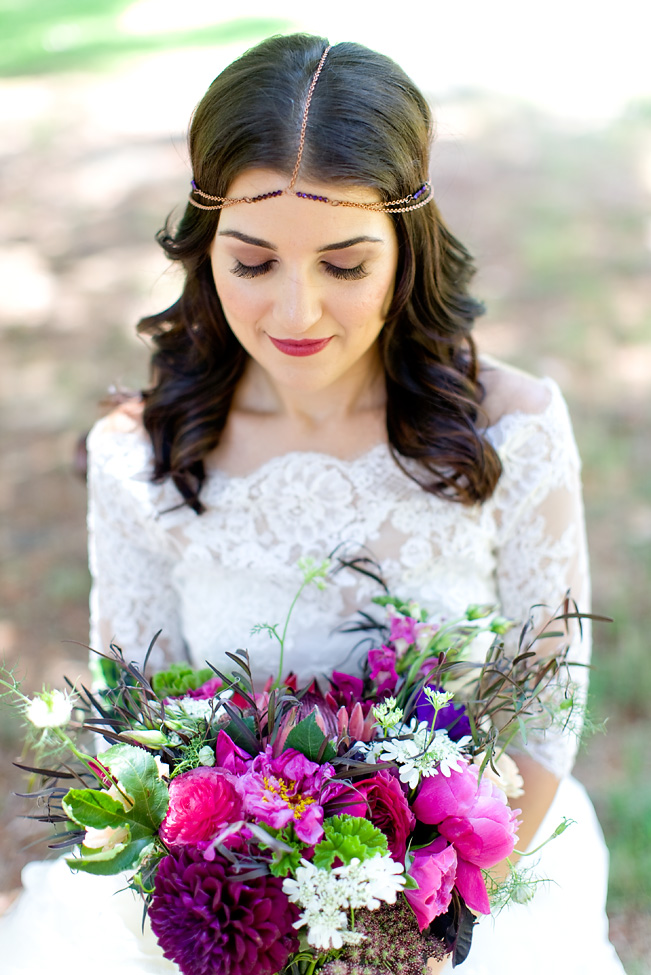 Berry bohemian bridal bouquet by San Diego florist, Compass Floral.