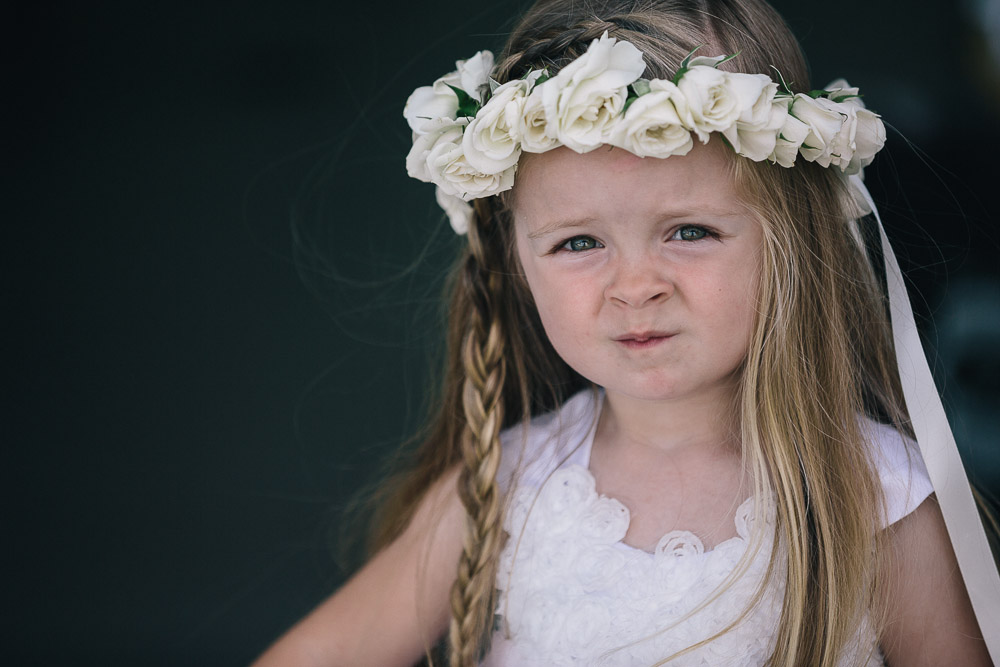 White rose flower girl crown by San Diego wedding florist, Compass Floral.