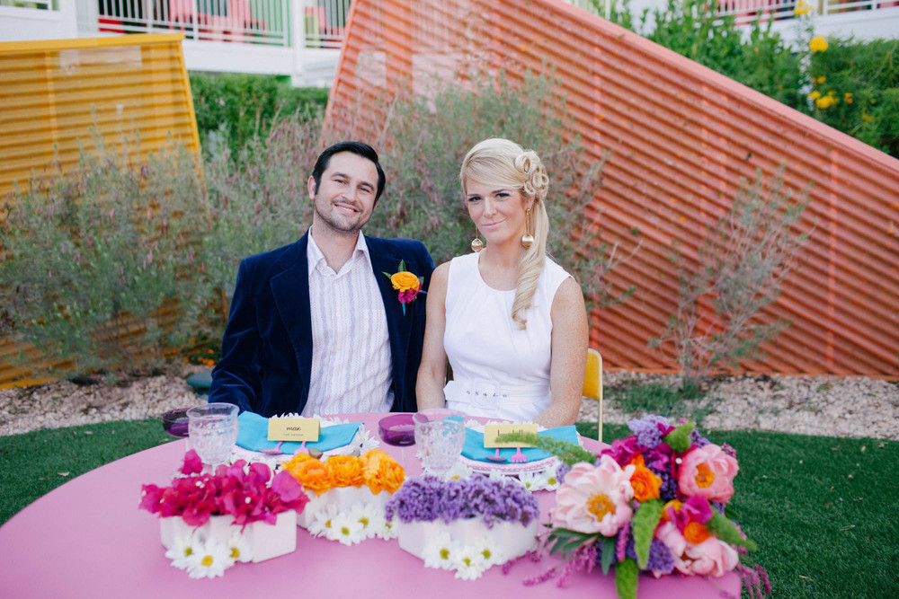 Mod colorful   sweetheart table inspiration by San Diego florist, Compass Floral at The Saguaro Palm Springs.