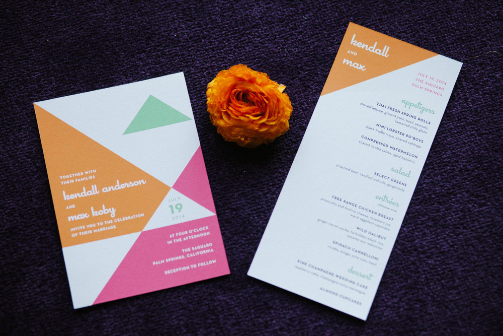 Mod colorful   wedding invitation inspiration by San Diego florist, Compass Floral at The Saguaro Palm Springs.