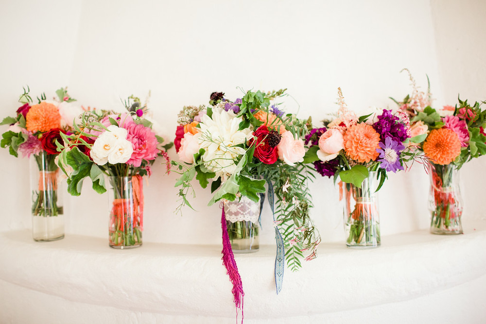 Colorful bohemian wedding bouquets by San Diego florist, Compass Floral.