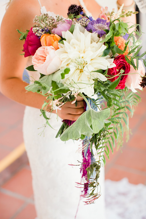 Colorful peony, dahlia & garden rose bridal bouquet by San Diego florist, Compass Floral