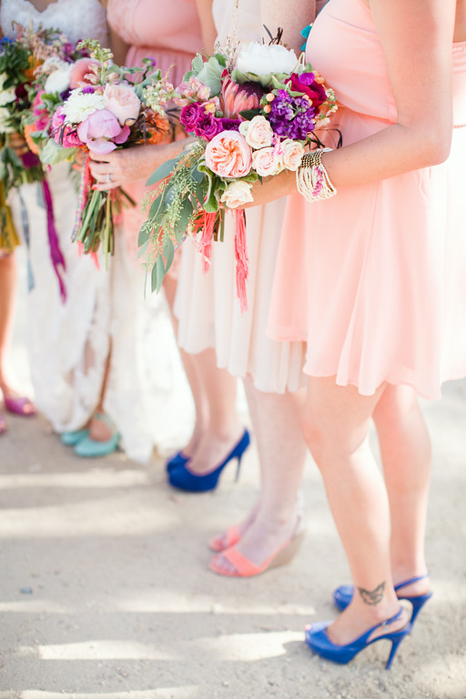 Colorful bohemian wedding flowers by San Diego florist, Compass Floral.