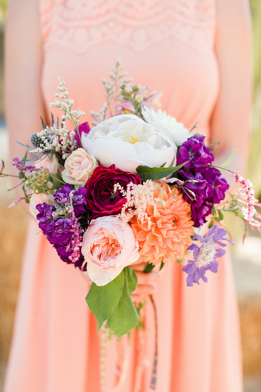 Colorful g  arden rose, peony & dahlia bridesmaid bouquets by San Diego florist, Compass Floral.