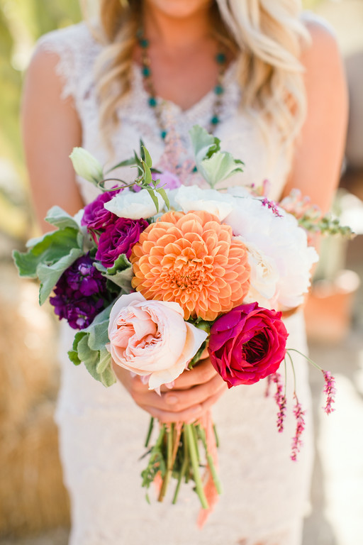 Colorful garden rose, peony & dahlia bridesmaid bouquets by San Diego florist, Compass Floral.
