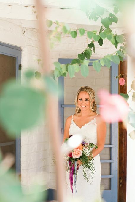 Colorful bohemian bridal bouquet by San Diego florist, Compass Floral.