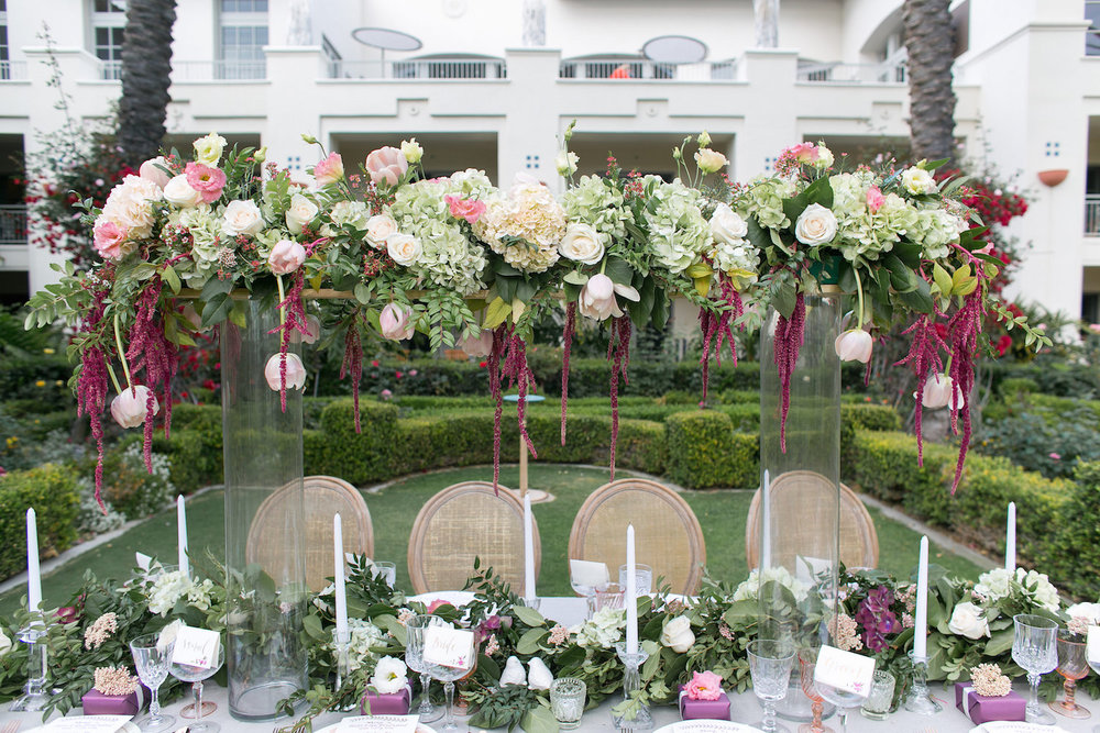 Elevated marsala & blush wedding centerpiece by San Diego florist, Compass Floral.