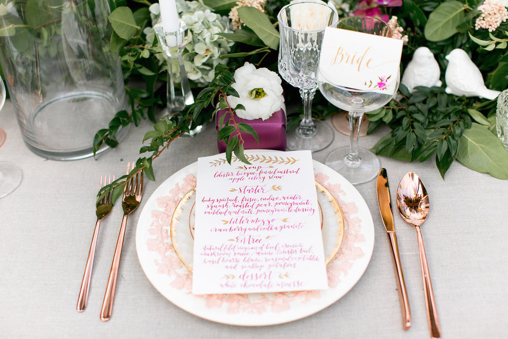 Calligraphy wedding dinner menu by Paper & Posies.