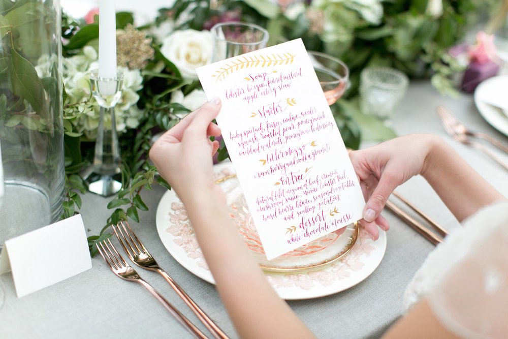 Marsala & gold wedding menu by Paper & Posies.