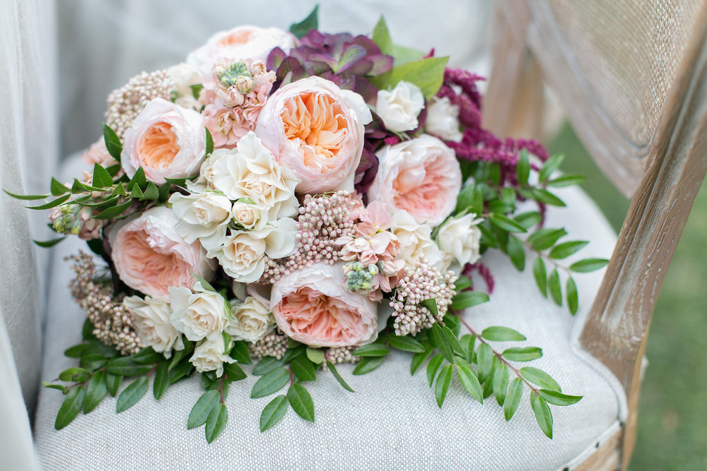 Marsala & blush garden rose bridal bouquet by San Diego florist, Compass Floral.