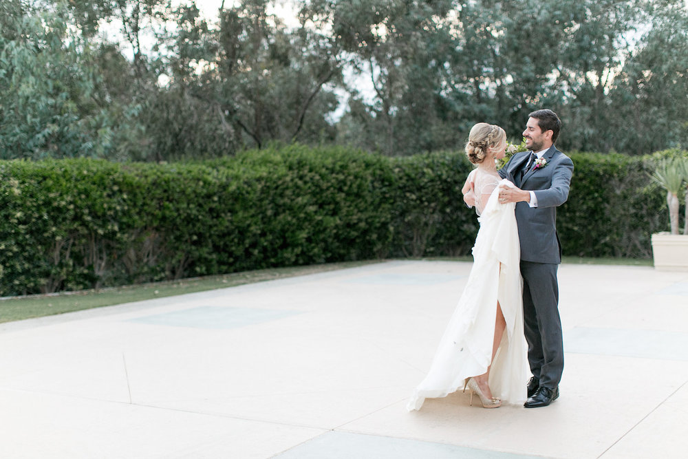 Wedding first dance. Marsala & blush wedding inspiration by San Diego florist, Compass Floral.
