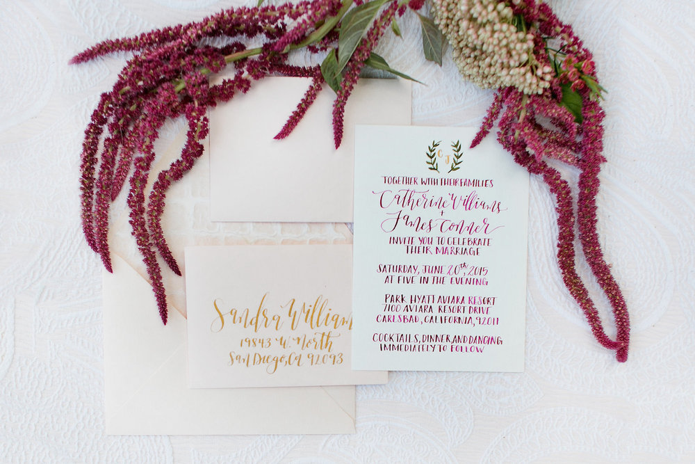 Marsala & gold wedding invitation by Paper   & Posies.