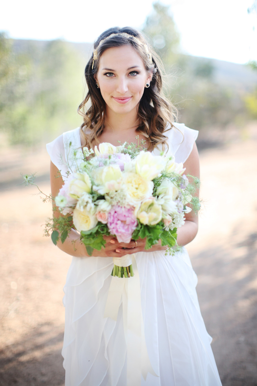 Peony & garden rose bridal bouquet by San Diego florist, Compass Floral.