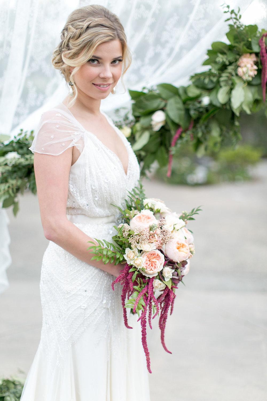 Marsala & blush garden rose bridal bouquet by San Diego wedding florist, Compass Floral.