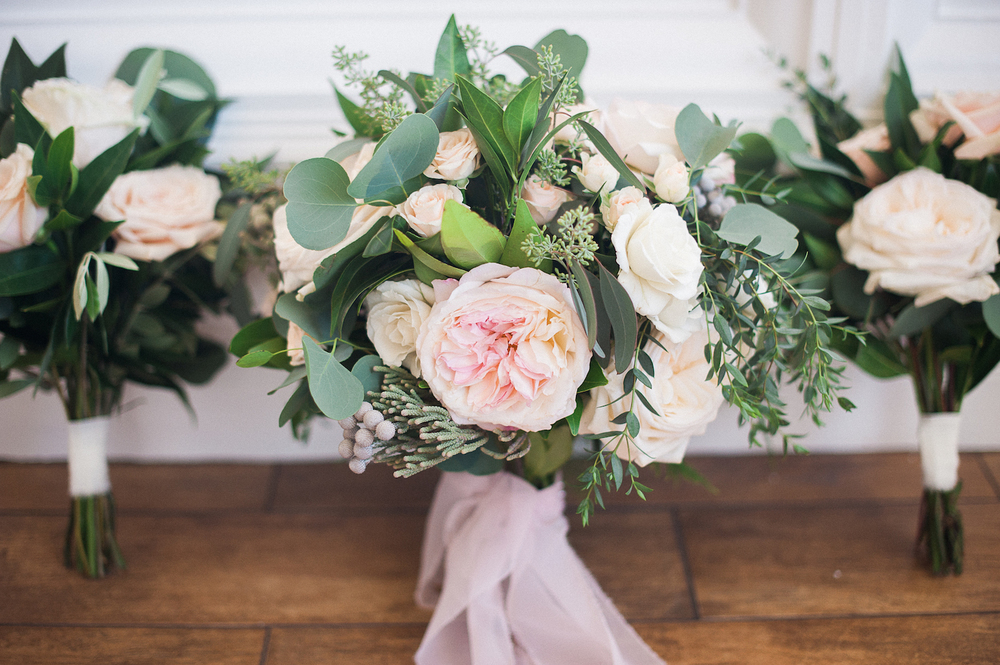 Blush & ivory, garden romantic bouquets by San Diego wedding florist, Compass Floral.