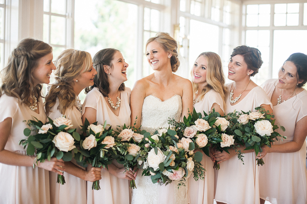 Carmel Mountain Ranch Country Club Blush & ivory, garden romantic bouquets by San Diego wedding florist, Compass Floral.
