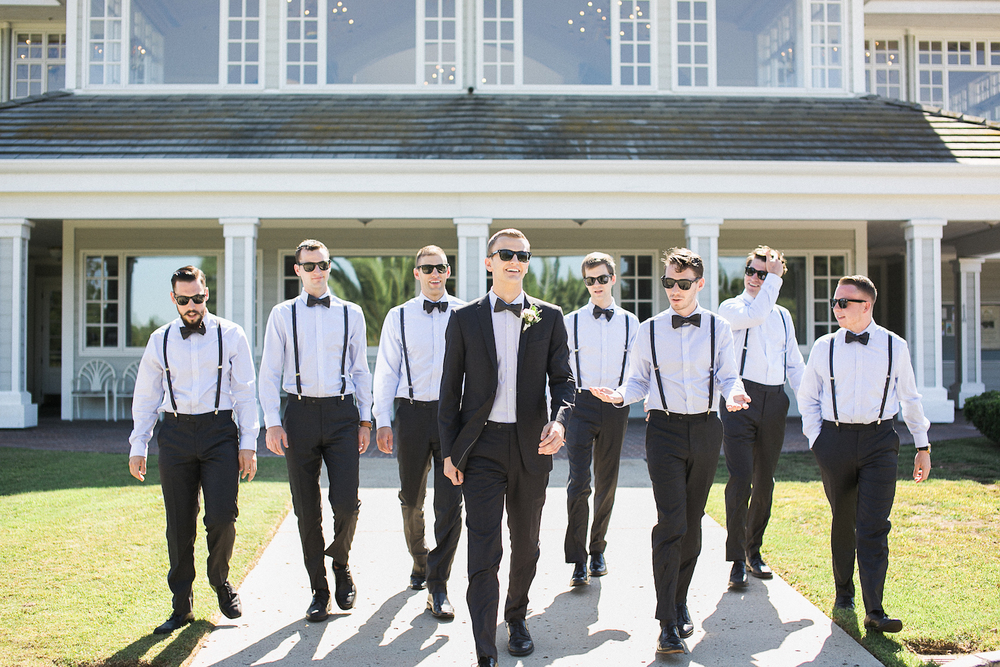 Carmel Mountain Ranch Country Club Dapper groomsmen in a white & blush wedding by San Diego wedding florist, Compass Floral.