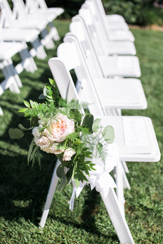 Blush & ivory, garden romantic aisle florals by San Diego wedding florist, Compass Floral.