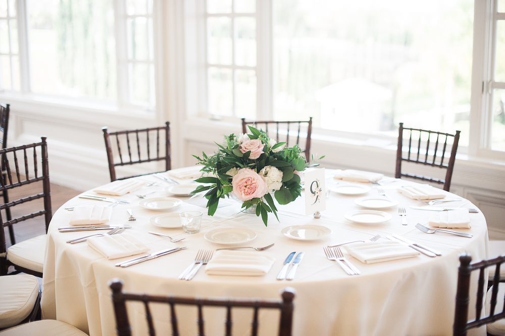 Carmel Mountain Ranch Country Club Blush & ivory, garden romantic centerpieces by San Diego wedding florist, Compass Floral.