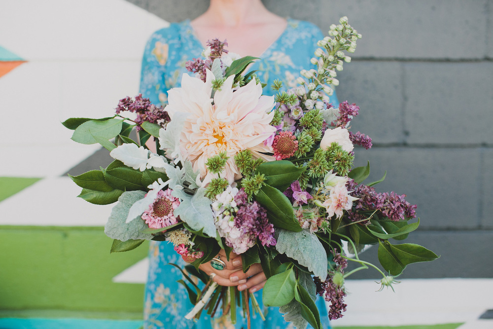 Bohemian dahlia bouquet by San Diego wedding florist, Compass Floral.
