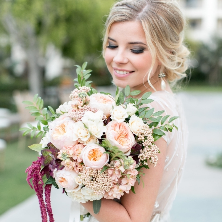 Garden romantic blush & marsala bouquet by San Diego Florist, Compass Floral.
