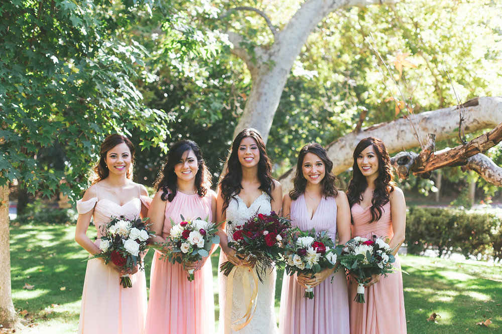 Temecula Creek Inn Moody burgundy & marsala bouquets by San Diego wedding florist, Compass Floral.