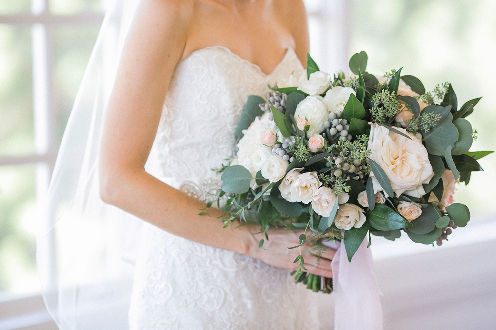 Carmel Mountain Ranch Country Club Blush & ivory, garden rose & eucalyptus bridal bouquet by San Diego wedding florist, Compass Floral.  Brandi Welles Photography.