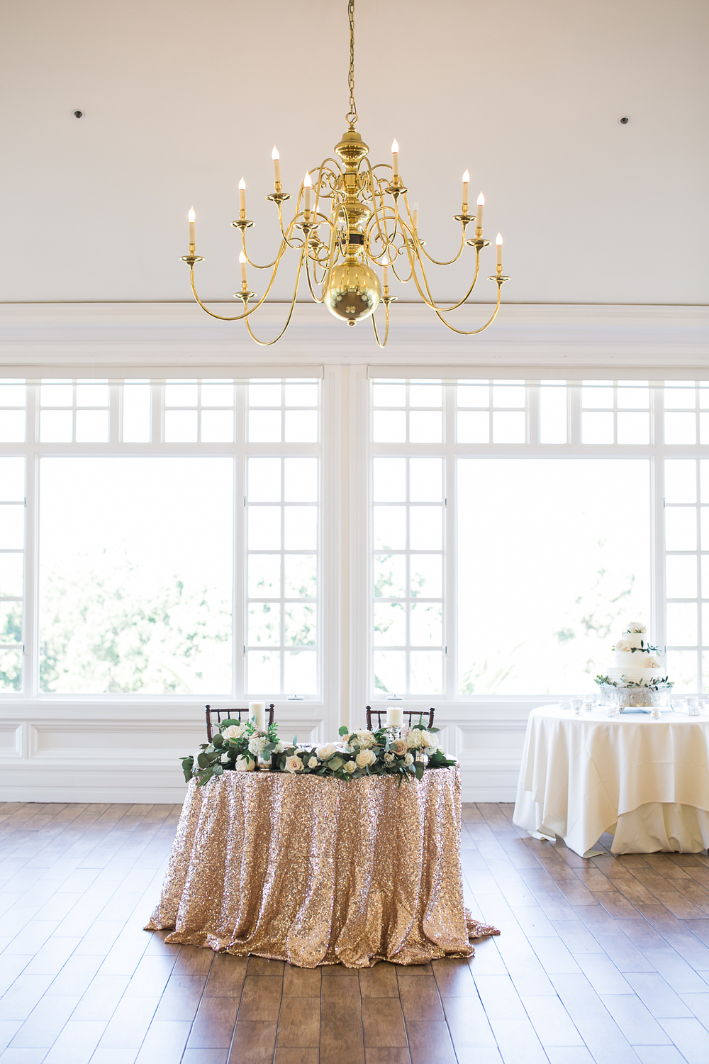 Carmel Mountain Ranch Country Club Blush & ivory, garden romantic wedding by San Diego wedding florist, Compass Floral.   Brandi Welles Photography. Gold sequin sweetheart table.