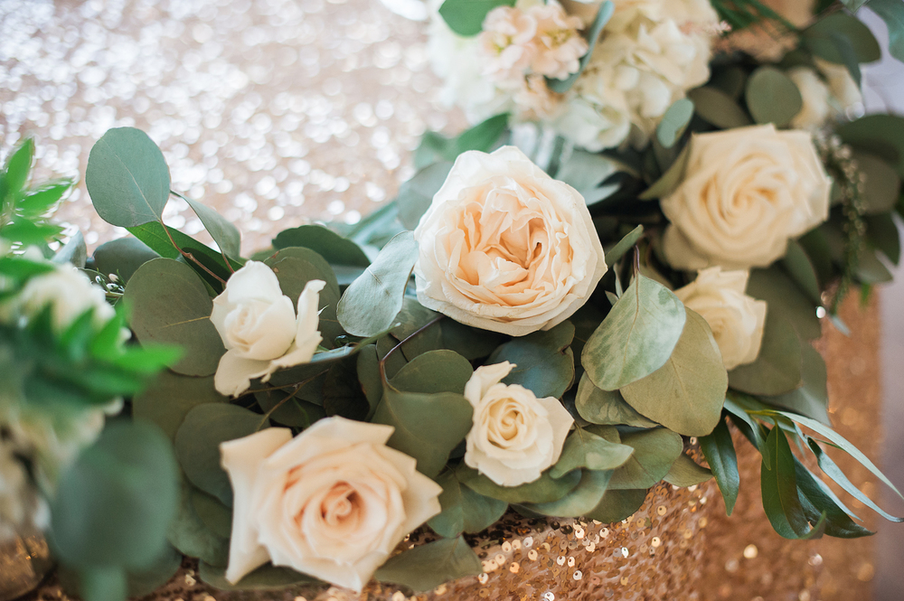 Carmel Mountain Ranch Country Club Blush & ivory, garden romantic wedding by San Diego wedding florist, Compass Floral.   Brandi Welles Photography. Gold sequin & garland sweetheart table.
