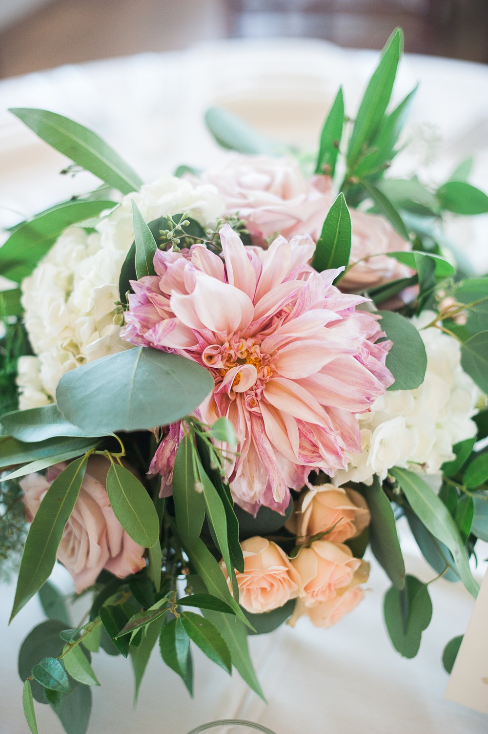 Cafe au lait dahlia centerpiece. Blush & ivory, garden romantic wedding by San Diego wedding florist, Compass Floral.   Brandi Welles Photography.