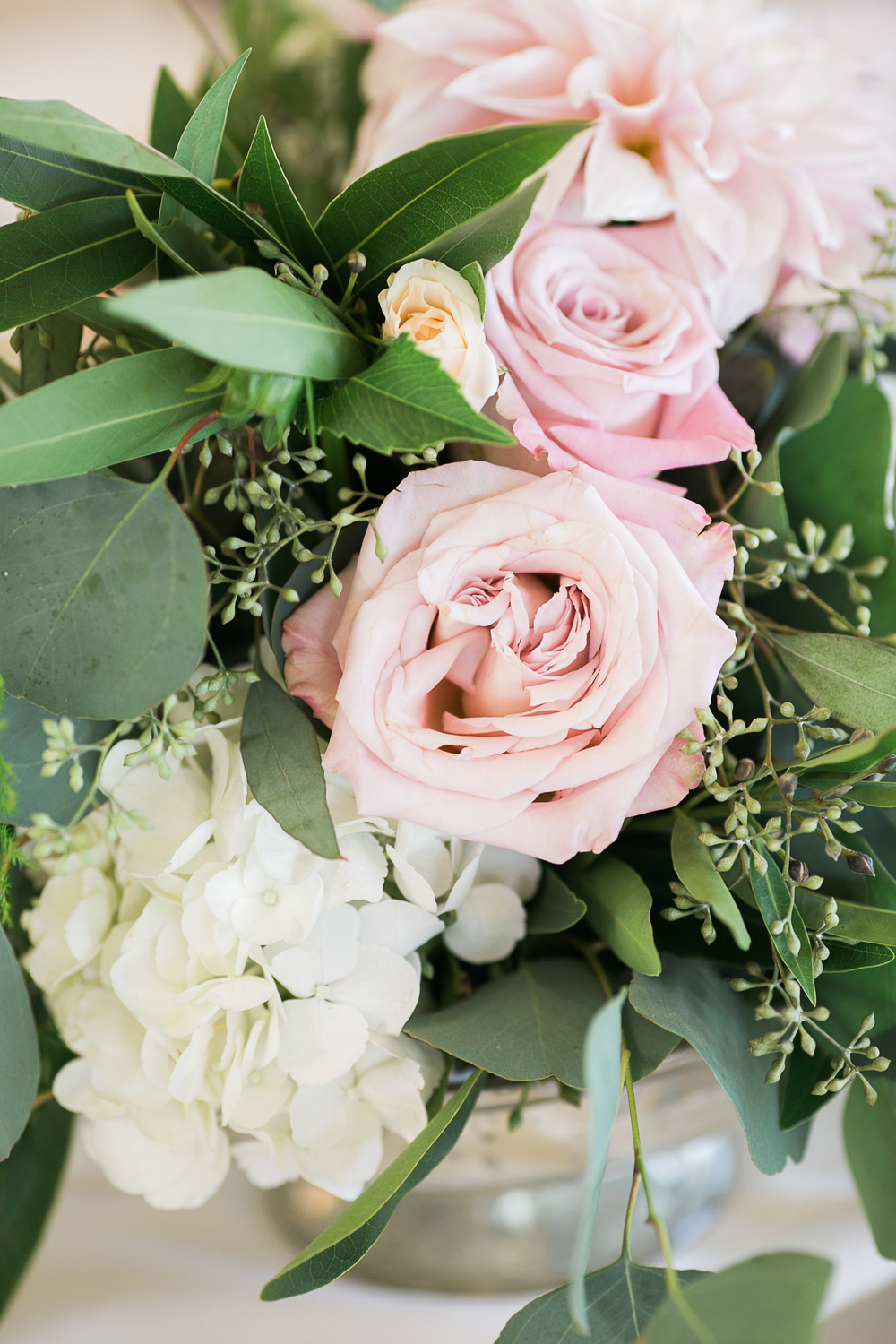 Blush & ivory, garden romantic centerpiece by San Diego wedding florist, Compass Floral.   Brandi Welles Photography.