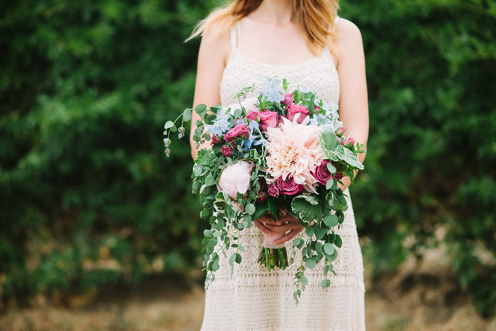 Pantone colors of the year - Rose quarts & serenity floral bouquet of cafe au lait dahlias & peonies by San Diego wedding florist, Compass Floral.  Photographed by Ashley Williams.
