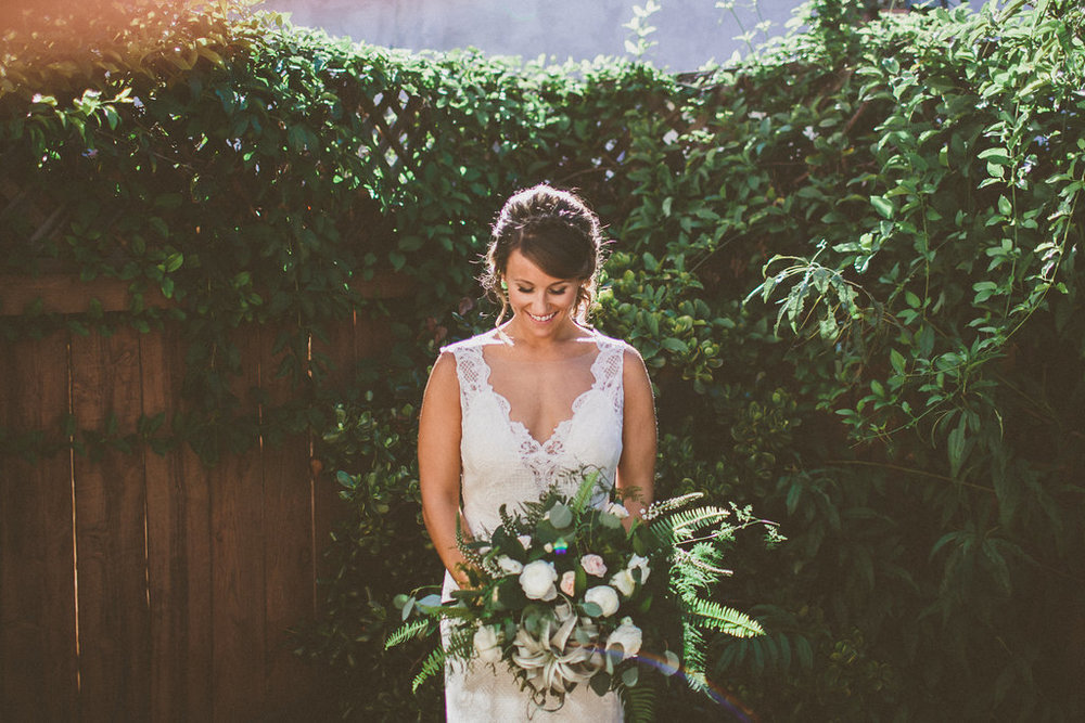 Green & white bohemian wedding by San Diego wedding florist, Compass Floral.