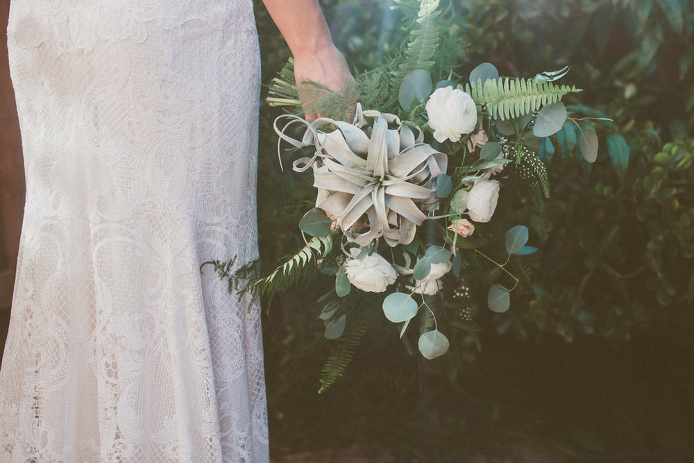 Bohemian airplant bouquet  by San Diego wedding florist, Compass Floral.