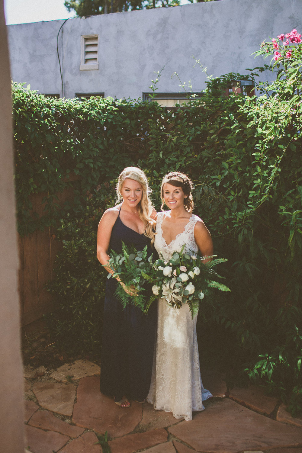 Green bridesmaid bouquet by San Diego wedding florist, Compass Floral.