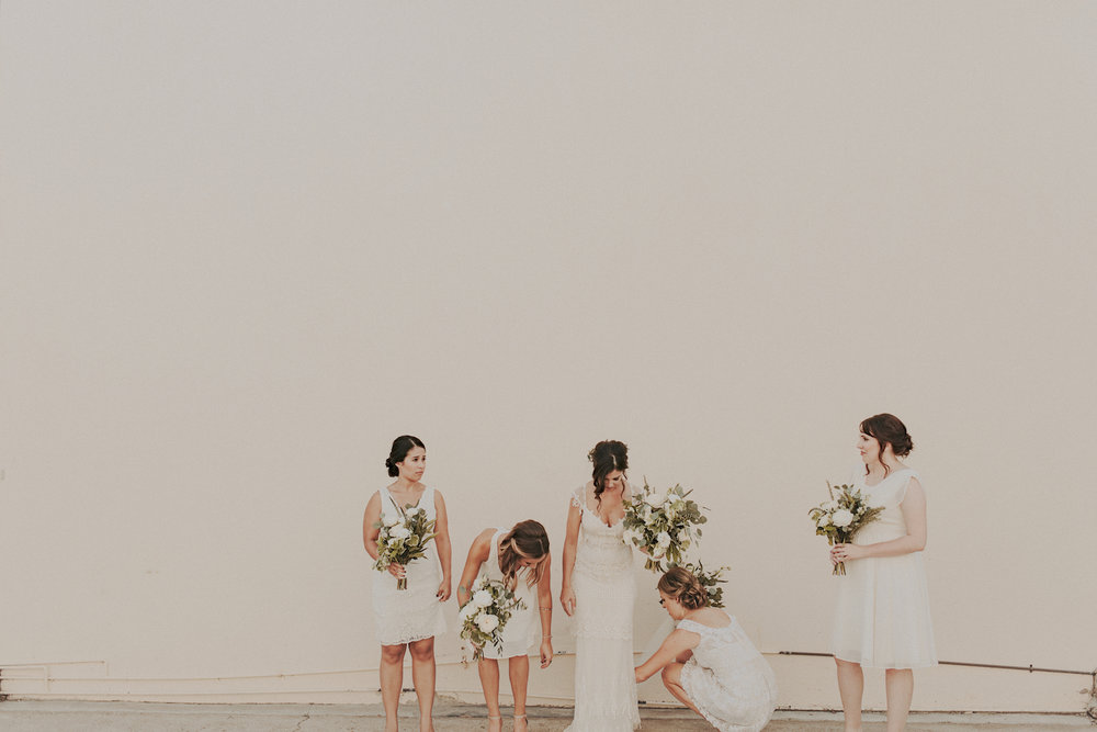 Green and white bridesmaid bouquets by San Diego wedding florist, Compass Floral.