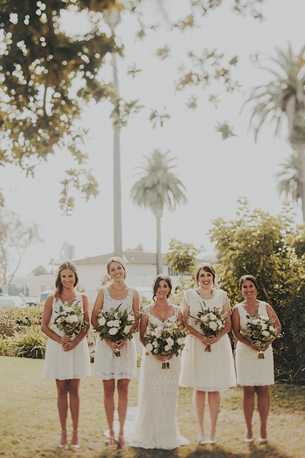 Green and white bridal bouquet   by San Diego wedding florist, Compass Floral.