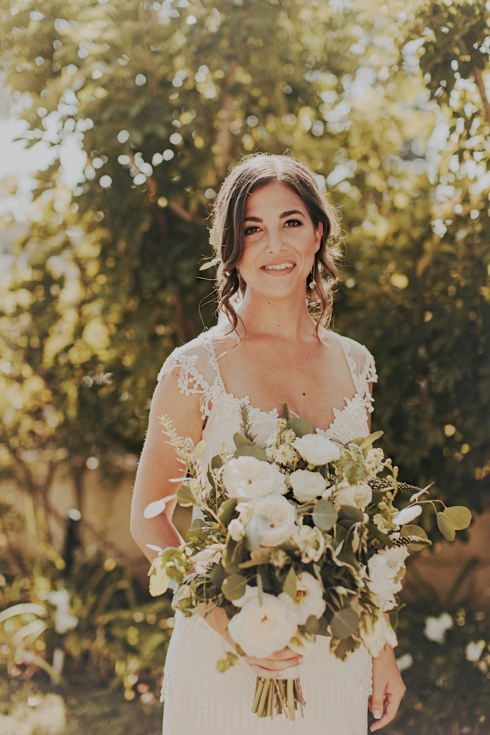 Rosemary, basil & mint bridal bouquet  by San Diego wedding florist, Compass Floral.