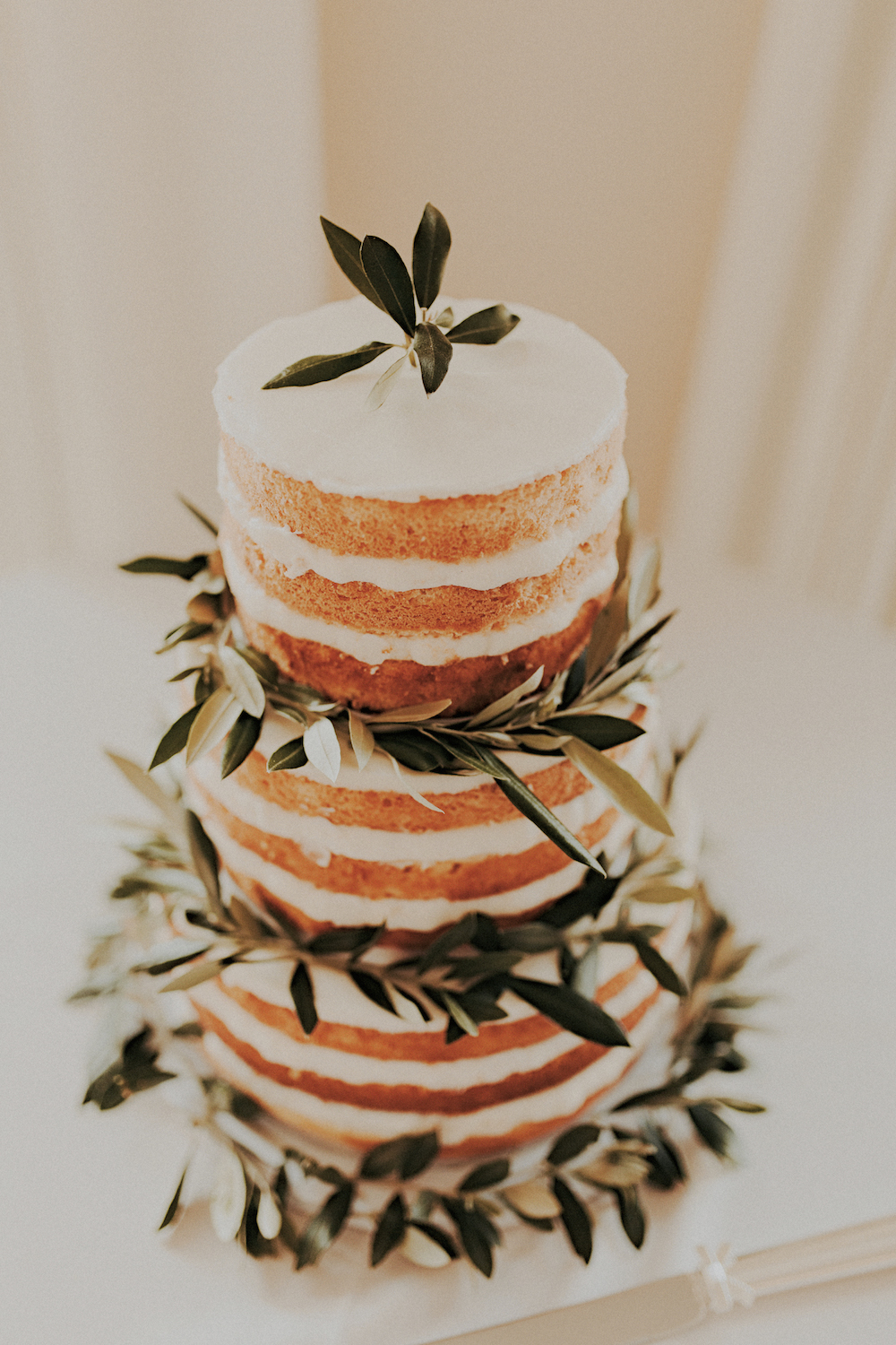 Naked cake with olive branchby San Diego wedding florist, Compass Floral.