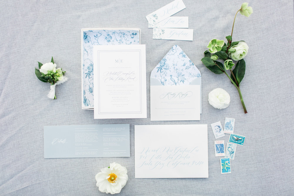 Blue & white stationary suite with florals by Compass Floral | Rancho Valencia, Rancho Santa Fe.