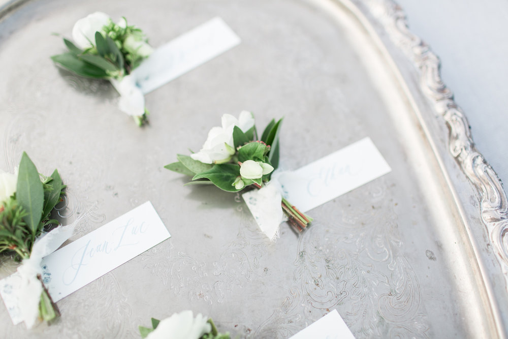 Elegant white boutonnieres | Rancho Valencia Weddings | Rancho Santa Fe | Compass Floral | Wedding Florist in San Diego and Southern California | Cavin Elizabeth Photography