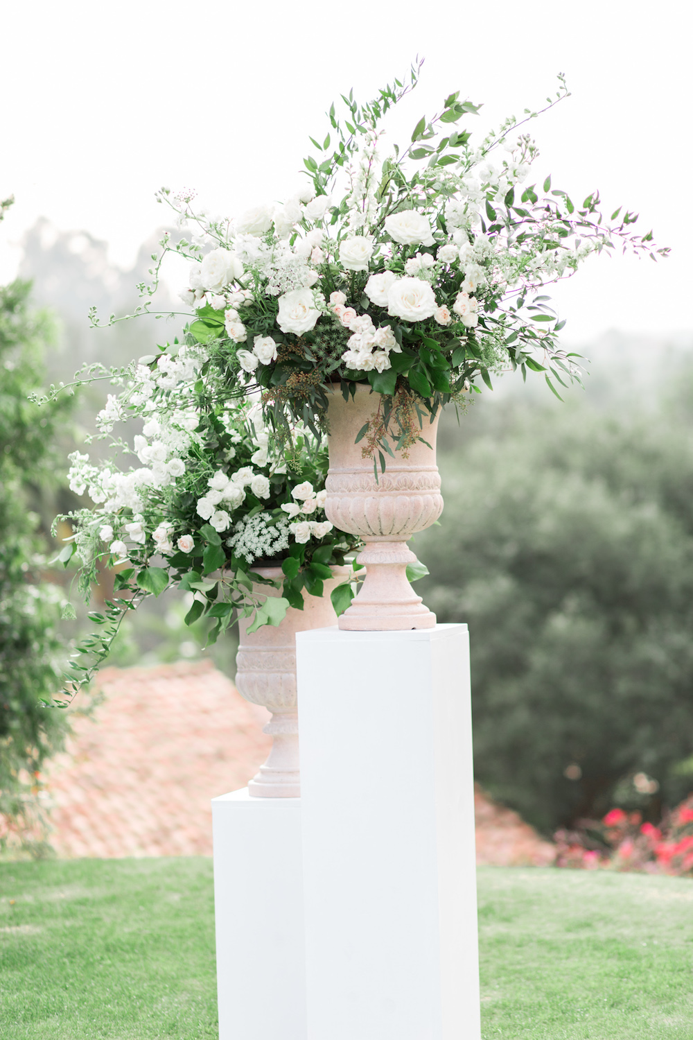 Garden romantic white ceremony pedestal florals | Rancho Valencia Weddings | Rancho Santa Fe | Compass Floral | Wedding Florist in San Diego and Southern California | Cavin Elizabeth Photography