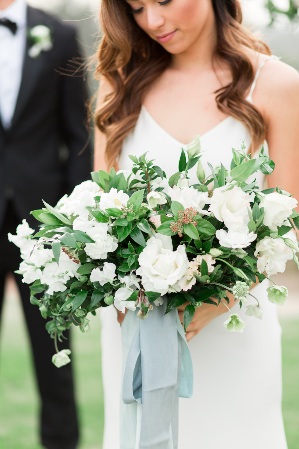 Elegant white bridal bouquet | Rancho Valencia Weddings | Rancho Santa Fe | Compass Floral | Wedding Florist in San Diego and Southern California | Cavin Elizabeth Photography