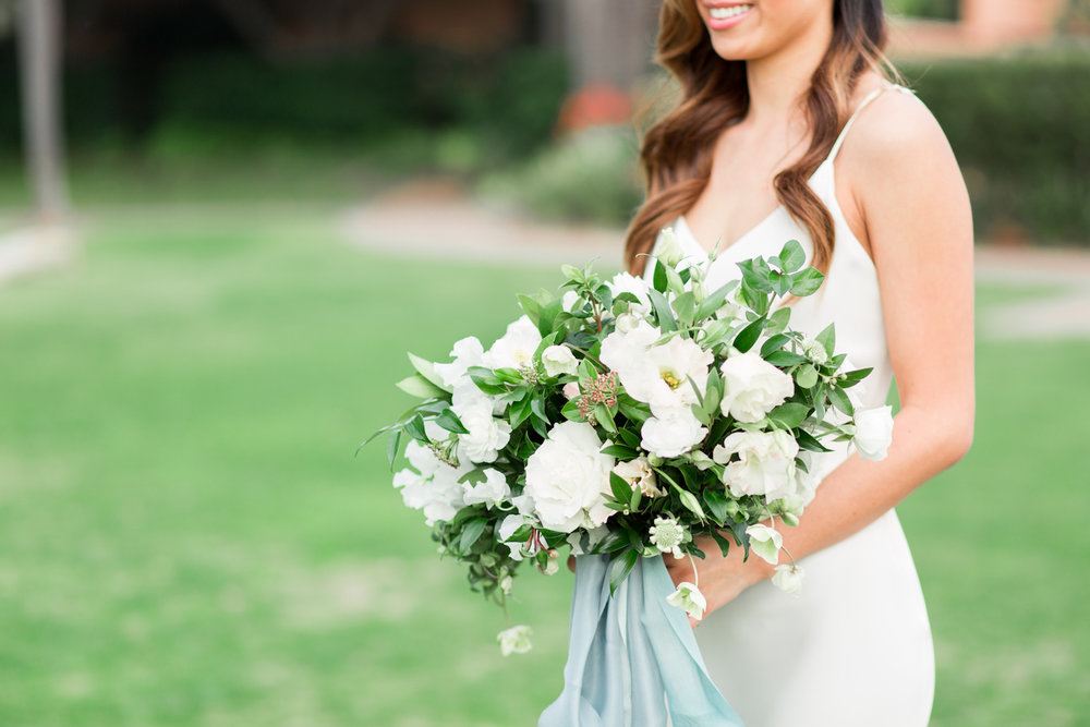 Elegant white bridal bouquet| Rancho Valencia Weddings | Rancho Santa Fe | Compass Floral | Wedding Florist in San Diego and Southern California | Cavin Elizabeth Photography