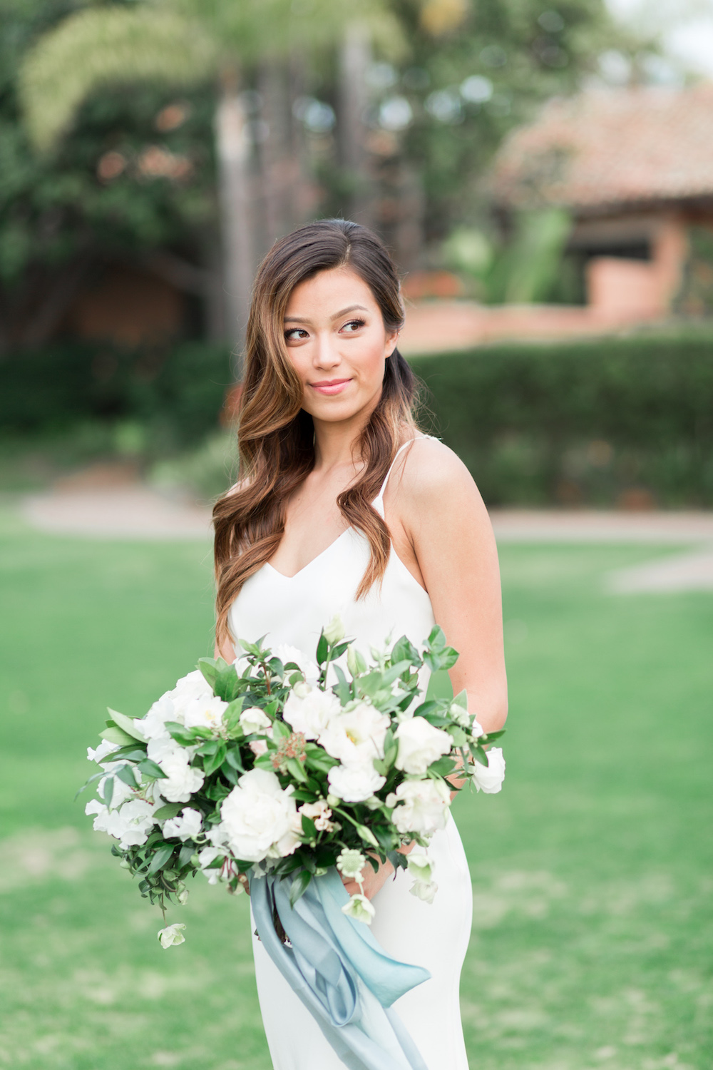 Garden romantic white bridal bouquet| Rancho Valencia Weddings | Rancho Santa Fe | Compass Floral | Wedding Florist in San Diego and Southern California | Cavin Elizabeth Photography