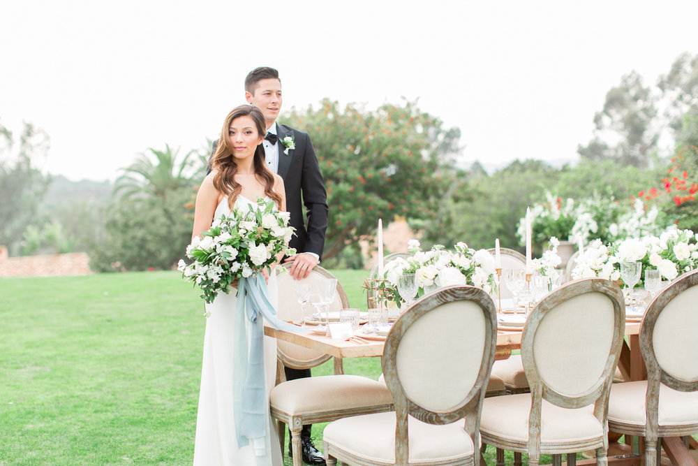 Ivory & green wedding reception | Rancho Valencia Weddings | Rancho Santa Fe | Compass Floral | Wedding Florist in San Diego and Southern California | Cavin Elizabeth Photography