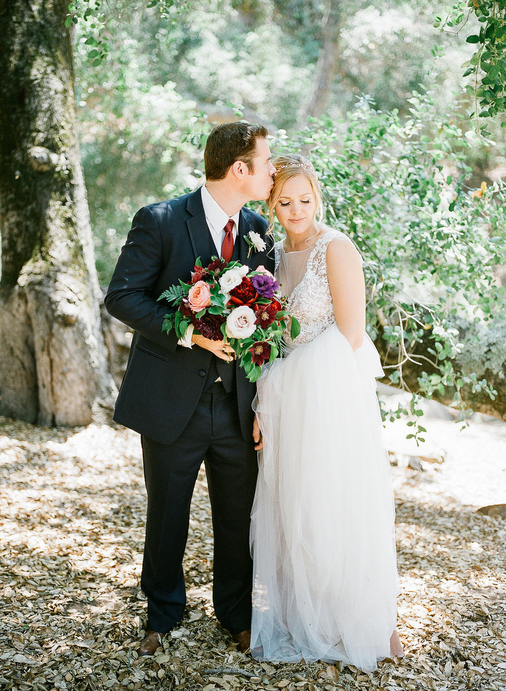 Romantic, jewel tone bridal bouquet by Compass Floral | Fallbrook Treehouse, Fallbrook
