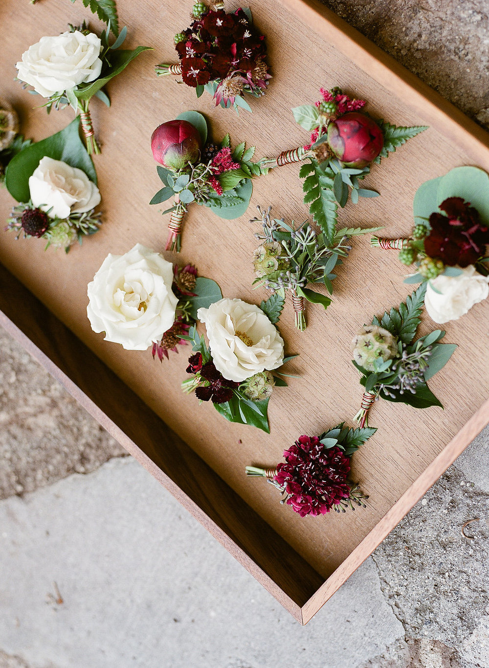 Mismatched peony, rose and scabiosa boutonnieres by Compass Floral | Fallbrook Treehouse, Fallbrook