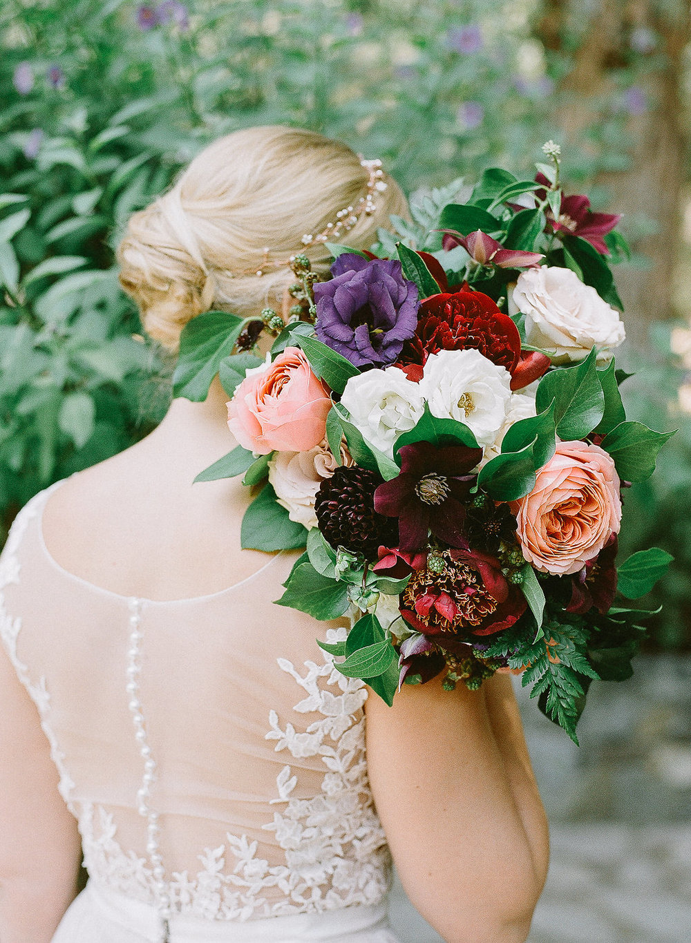 Romantic, jewel tone bridal bouquet of garden roses, dahlias and clematis by Compass Floral | Fallbrook Treehouse, Fallbrook