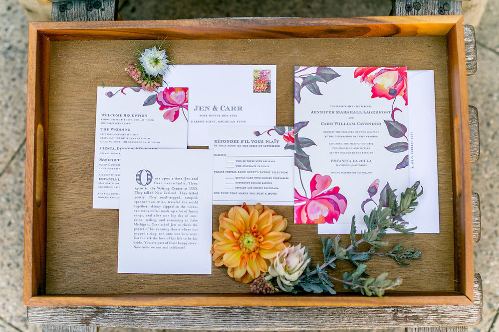 Bohemian wedding stationary with floral details by Compass Floral | Estancia Hotel & Spa, La Jolla.